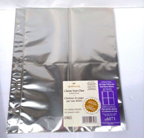 Hallmark Large Choose-Your-Own Album 4-Pocket 8 Page Refill AR6071, For Large 3-Ring and Post-Bound Albums (Includes Posts) by Hallmark