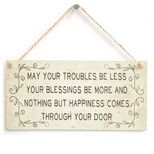 (Meijiafei May Your Troubles be Less Your Blessings be More and Nothing but Happiness Comes Through Your Door - Beautiful Home Accessory Gift Sign 10