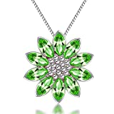 The Starry Night Austrian Crystal Sleeping Fire Lotus Flower Diamond Accented Pendant Silver Necklace
