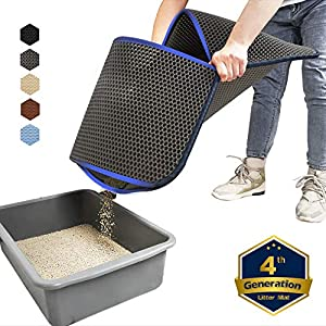 WePet Cat Litter Mat, Kitty Litter Trapping Mat, Large Size, Honeycomb Double Layer, No Phthalate, Urine Waterproof, Easy Clean, Scratch Scatter Control, Catcher Box Pads Rug Carpet 30x25 Inch Grey 115