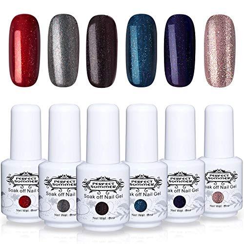 Perfect Summer Gel Nail Polish Kit - 6 Colors Gel Nail Varnish Soak Off UV LED Manicure Home Gel Manicure System 8ML 120