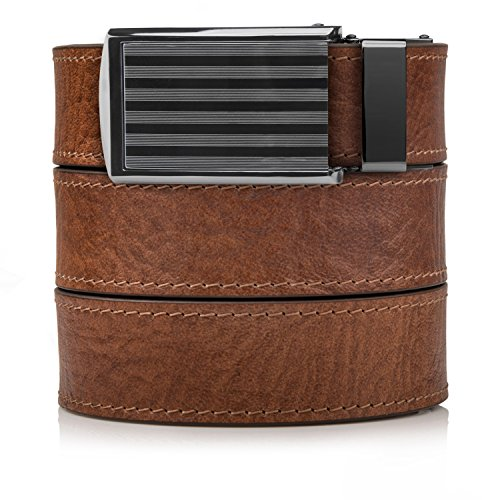 SlideBelts Men's Premium Top Grain Leather Ratchet Belt - Walnut with Bar-Striped Buckle ()