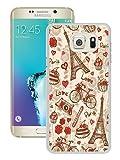 Galaxy S6 Edge+ Case,France Paris Love City Eiffel Tower Floral Pattern White Shell Case for Samsung Galaxy S6 Edge Plus,Fashion Look