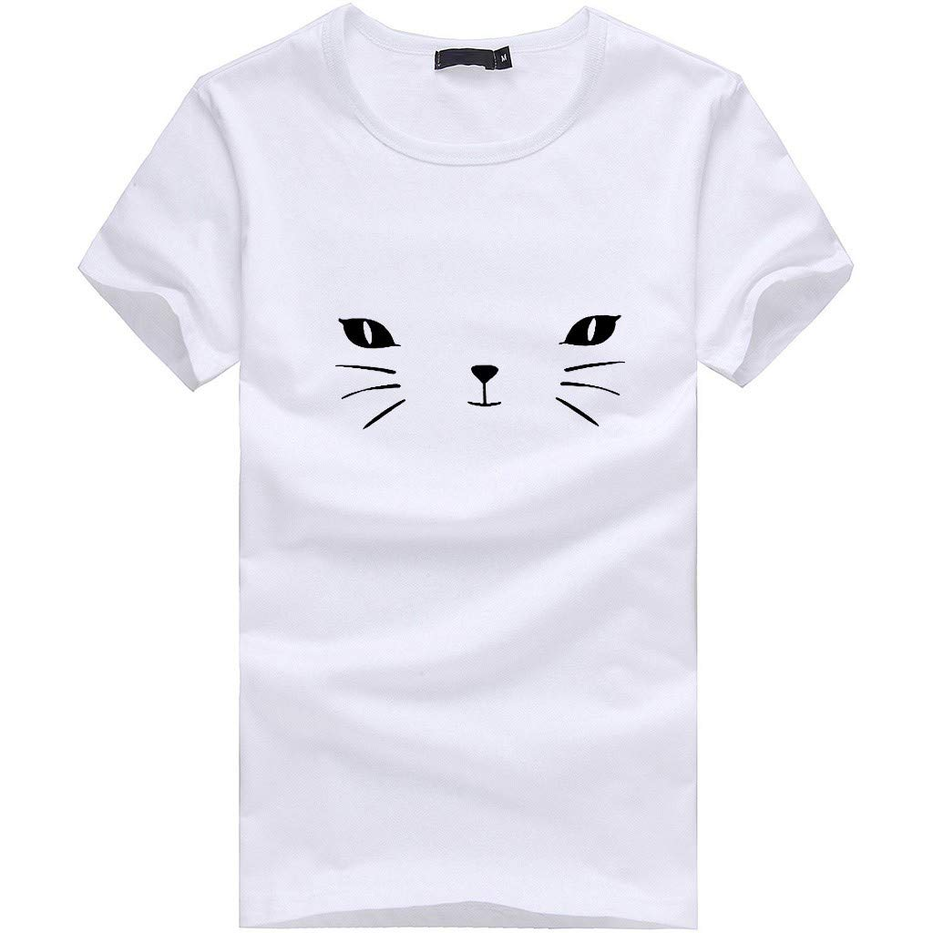 Lmx+3f Fashion Women Girls Plus Size Print Tops Tees Shirt Scoop Neck Short Sleeve T Shirt Blouse Soft Comfy Top White