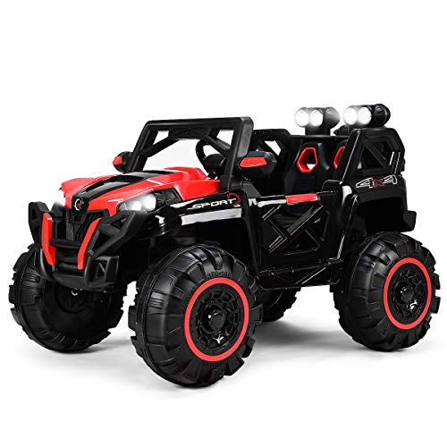 Costzon Kids Ride On Truck, 12V Battery Powered Vehicle W/ 2.4G Wireless Bluetooth Parental Remote Control & Manual Modes, LED Lights, Music, MP3, USB, TF, Horn, Volume Controller (Red & Black)