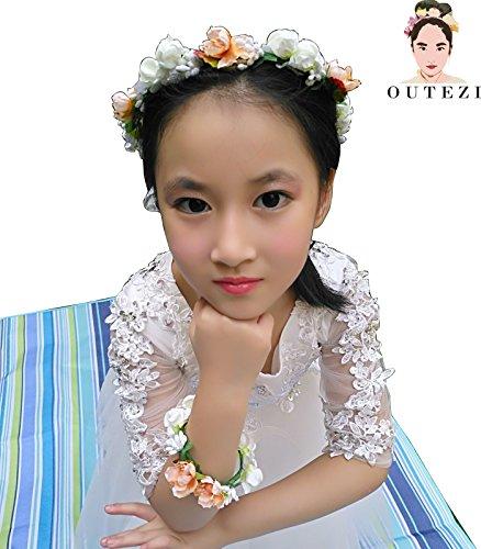 Renaissance Festival Outfit (FENHAR Child Girl Flower Crown Headband with Bracelet/ Baby Girl Headband/Girl Headband Baby/Toddler Headband (small whilte))