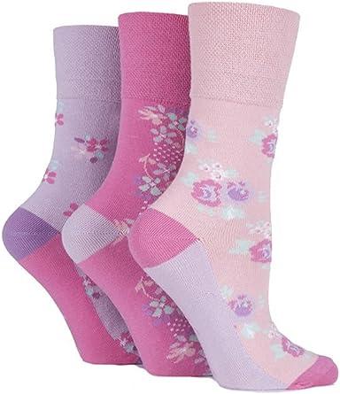 size 4-8 Pack of 3 Ladies Gentle Grip socks Floral pattern