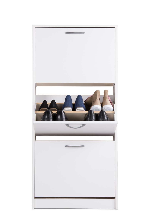 Lifestyle4living Schuhkipper in Weiß hat 3 Fächer | Praktischer Schuhschrank mit Alu-Griffen bietet für 18 Schuhpaare bis Größe 45 genügend Platz