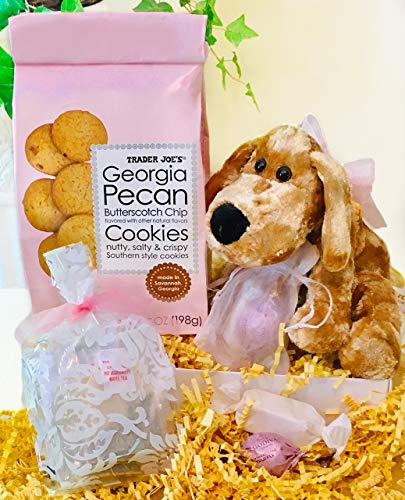 Premium Cookies and Tea Gourmet Gift Basket w/ Limited Edition Godiva Birthday Chocolate Truffles & Cute Puppy Plush! Non-GMO & Organic Items Quality Gift for Her/Mom/Daughter for Birthday / Get Well ()