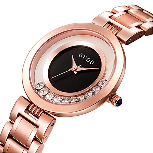 - KINGMAN.INC Women's Metal Retro Casual Round Dial Quartz Analog Wrist Watch with Rose Gold Stainless Steel Band