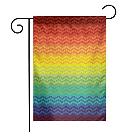 Mannwarehouse Fiesta Garden Flag Mexican Inspired Colorful Chevron Zigzags Three Dimensional Pattern Tribal Culture Premium Material W12 x L18 Multicolor]()