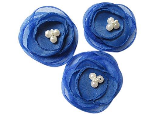 "YYCRAFT Pack of 6 Organza Fabric 2.5"" Poppy Flower Pearl-Royal Blue"