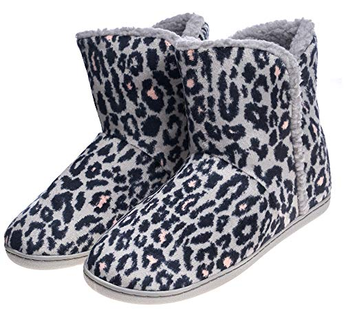 Women's Comfort Warm Faux Fleece Fuzzy Ankle Bootie Slippers Plush Lining Slip-on House Shoes Anti-Slip Sole Indoor/Outdoor (7-8 M US Women, Leopard Foldable) ()