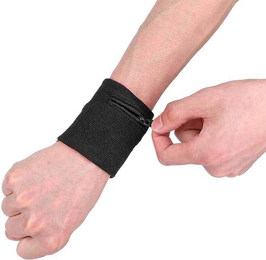 Walking Tennis Hiking Basketball Cross-Fit Acfun 2pcs Wrist Wallet Wristband with Zipper Sport Wrist-Pouch Thick Sweatband Wrist Support for Women Men Running