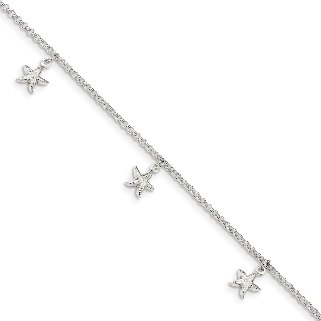 Ankle Bracelet Foot Jewelry Anklet - ICE CARATS 925 Sterling Silver Starfish Dangles 9 Inch 1 Adjustable Chain Plus Size Extender Anklet Ankle Beach Bracelet Seashore Fine Jewelry Ideal Gifts For