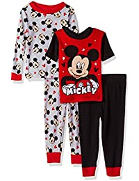 Toddler Boys Mickey Mouse 4-Piece Cotton Pajama Set, Stained Out Red