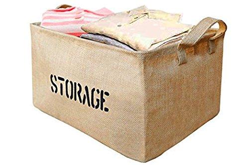 Youdepot Large Jute Storage Bin 17 x 13 x 10'' Large Enough For Toy Storage - Storage Basket For Organizing Baby Toys, Kids Toys, Baby Clothing, Children Books, Gift Baskets -2 Pcs Storage & Toys Bin