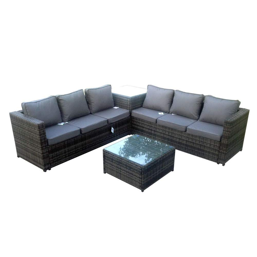Rattan Effect 6 Seater Patio Sofa Set With Cushions