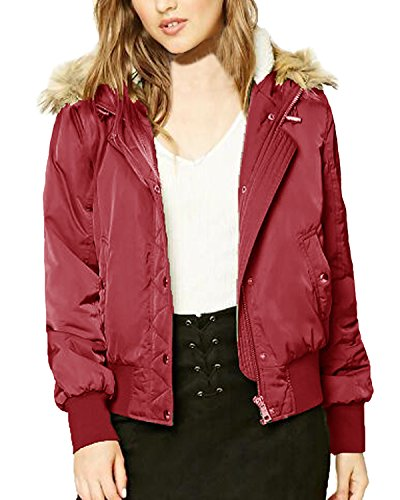 Jacket Biker Coat Wine Sleeves Hooded Winter Classic Padded Long Short Bomber Outwear Red Women's Kidsform ZaqCFx