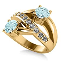 """Allurez Aquamarine and Diamond Pave """"Ever Together"""" 2-Stone Ring in 14k Yellow Gold (2.00ct)"""