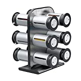 Zevro KCH-06098 Zero Gravity Countertop Magnetic Spice Rack with Canisters, Metallic/Grey - Set of 12
