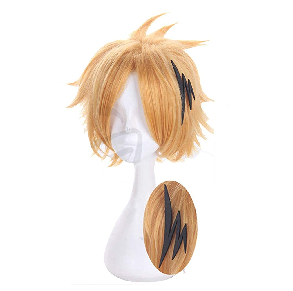 GZIRUE Golden Short Wig with Hair Accessory Party Anime Halloween Daily My Hero Cosplay Costume Men Hair