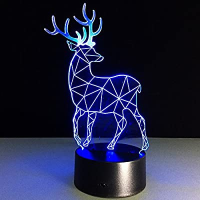 Voorpret Christmas 3D Illusion Light Optical Bedroom Night Color Change LED Desk Table Lamp