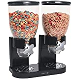 Classic Cereal Dispenser For Dry Foods - Comes in Single Containers and Double in Black/White (Black, Double) by Ascot Home and Garden