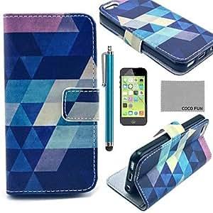 ZXM- Coco Fun® patrón de rompecabezas azul cuero de la PU caso de cuerpo completo con protector de pantalla, stylus y reposar por 5 quater iphone