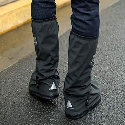 防雨靴カバー 乗馬屋外肥厚底白黒高チューブ 雨の日の防水ブーツセット滑り止め自転車靴カバー新しい (ブラック, L)
