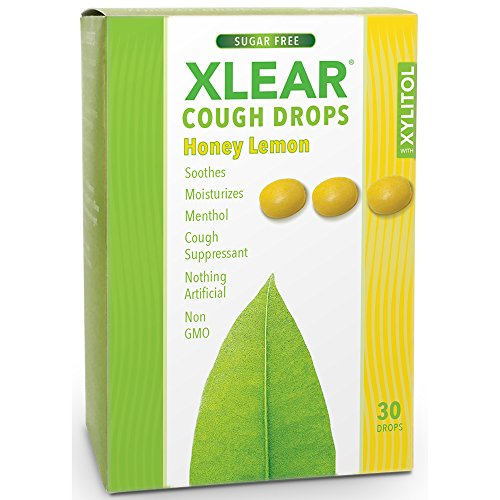 XLEAR Sugar Free Cough Drops, Natural Honey Lemon, 30 (Drops Sugar Free Honey)