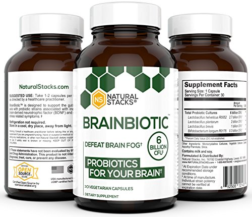 Natural Stacks: BrainBiotic - Brain Supplement - Gut-Brain Axis Optimizer - Contains Probiotics for Brain Health - Promotes Digestive Heah - Enhances Memory Function - Stress Relief - 1 Month Supply