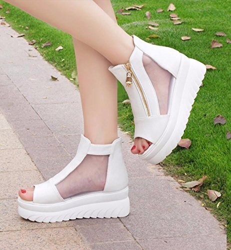 White Summer Hill Yarn High With Flat New Shoes Students KHSKX Pine Shoes 38 Shoes Women Thick Sandals Female Cake Heeled Net dUxInBt