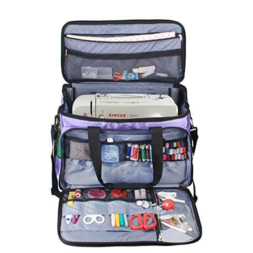 (Luxja Sewing Machine Carrying Bag, Tote Bag for Sewing Machine and Extra Sewing Accessories, Purple)
