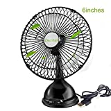 Lucstar Desktop USB Fan Personal Desk Table Elegant Retro Quiet Fan with Powerful Wind for Office Work, Home,Living Room Bedroom Sleep, Classic Black 6 Inch