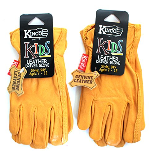 Kinco 94 Y (2-Pack) Grain Pigskin Leather Work or Gardening Gloves for Kids. Very Soft, Durable, Leather, No Break-in Period Required. Ages 7-12