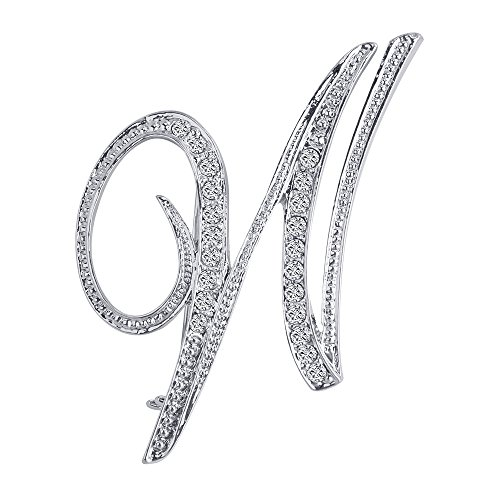 Liasun 26 Letters Brooches Silver Plated Metal Broaches Pins-Clear Crystal Initial Breastpin ()