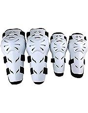 Rungear 4Pcs Motorcycle Knee Elbow Protector Motocross Racing Knee Shin Guard Pads Protective Gear Armors Set Adults