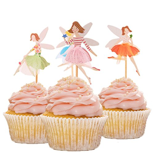 HOKPA Fairy Cupcake Toppers Cute Girls,for Baby Shower Birthday Party Decoration,24 PCS