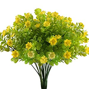 Nahuaa 4PCS Artificial Flowers Bushes Fake Baby's Breath Plants Light Yellow Eucalyptus Leaf Faux Shrubs Bundles Table Centerpieces Arrangements Home Kitchen Indoor Outdoor Spring Decorations 37