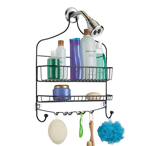 mDesign Extra Wide Metal Wire Bathroom Tub and Shower Caddy, Hanging Storage Organizer Center with Built-in Hooks and Baskets on 2 Levels, Rust Resistant - Matte Black