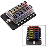 Blade Fuse Block 12 Way Fuse Box Holder with LED Light for Automotive Car Boat Marine SUV