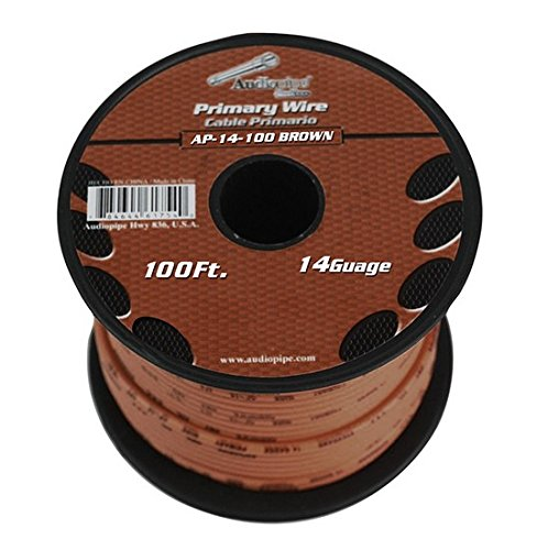 BROWN 14 gauge 100 Feet Power Cable Car Audio Primary Remote Wire Copper mix (Brown Speaker Wire compare prices)