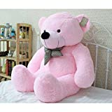 Pihu Enterprises Soft Teddy Bear with Neck Bow (Pink, 91cm)