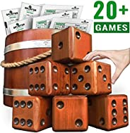 Splinter Woodworking Co Yardzee, Farkle & 20+ Games - Giant Yard Dice Set (All Weather) with Wooden Bucket