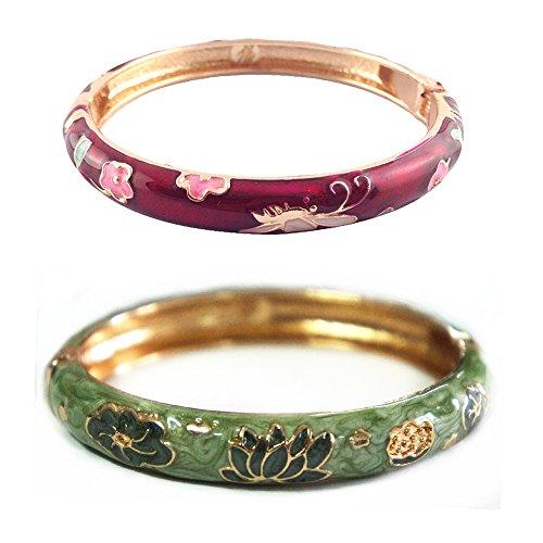 Enamel Vintage Bangles - UJOY Cloisonne Bracelets Butterfly Enamel Floral Indian Hinged Open Bangle Jewelry Bracelet for Women Gift Box 55A35-B28 WineRed and Green