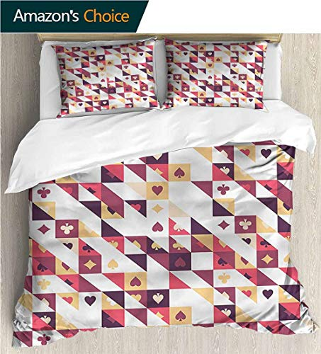 VROSELV-HOME 3 Piece Quilt Coverlet Bedspread,Box Stitched,Soft,Breathable,Hypoallergenic,Fade Resistant All Season Lightweight Colorblock Kids Bedding Set-Casino Cards and Triangles (87