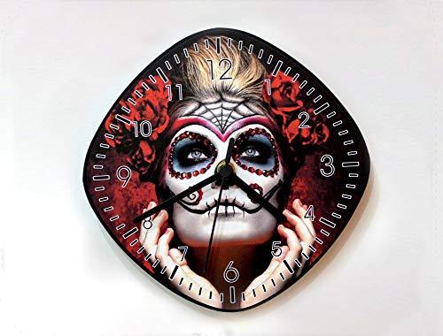 Day of the Dead Sugar Skull Catrina Calavera Makeup - Wall Clock]()