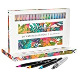 #10: Genuine Crafts Watercolor Brush Pen Set - 20 Premium Colors - Real Brush Tip - 1 Refillable Water Pen - Washable Nontoxic Marker - Durable - Portable Painting