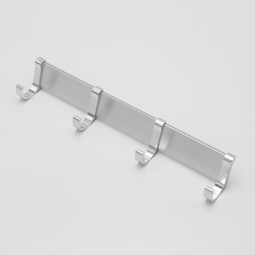 BOEN Solid Aluminum Coat Hook Rack/Rail with 4 Pronged Hooks Wall Mount,Silver Sand-Sprayed,A2024H4